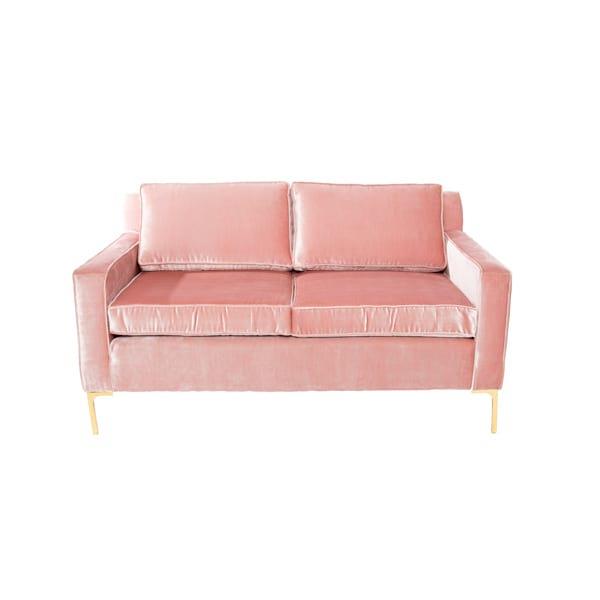 blush pink velvet loveseat with brass legs