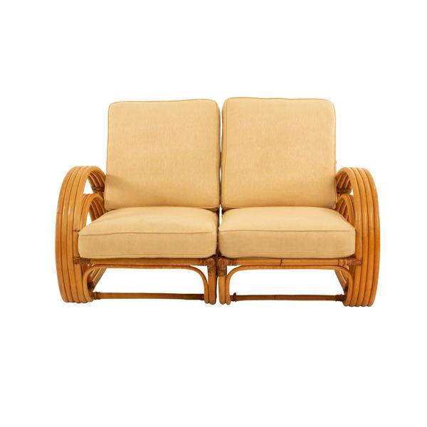 vintage pretzel rattan 2 piece sofa and desert sand cushions