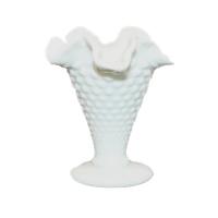 Vintage Short Tulip Shape Milk Glass Vase, Style No. 3