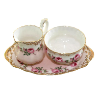 Pink Bridal Cream & Sugar Set
