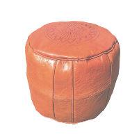 Orange Leather Pouff