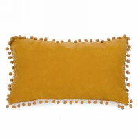 Mustard Rectangle Pillows with Pom Poms