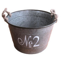 No. 2 Tin Bucket with Rope Handles