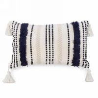 Dark Blue and Cream Striped Pillows
