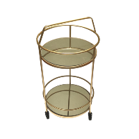 Petite Gold Bar Cart with Handle