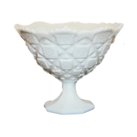 Vintage Milk Glass Compote Vase,  Style No. 5