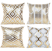 Gold and White Geometric Pillow Set of 4