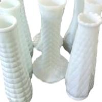 Vintage Tall Single Flower Milk Glass Vases