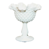 Vintage Milk Glass Compote Vase, Style No. 2