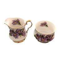 Purple Crocus Cream and Sugar Set