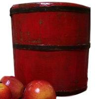 Red Wooden Bucket