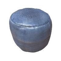 Blue Leather Pouff