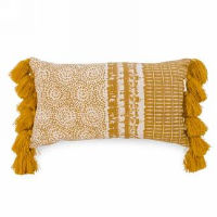 Mustard Yellow Rectangle Tassel Pillows