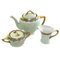 Art Deco Green Teapot with Creamer & Sugar Bowl