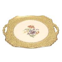 Yellow & Gold Cake Plate