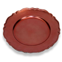 The Head Table Collection: Rose Bronze Wavy Edge Charger Plates-Plastic