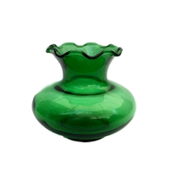 Small Vintage Green Glass Vases