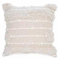 Beige and White Pillows with Fringe