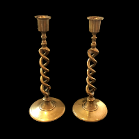 Tall Twisted Brass Candlesticks