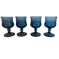 Vintage MINI Blue Stemmed Vases or Glasses - Mixed Patterns
