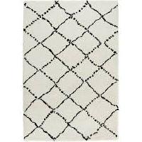 White and Black Crisscross Rug
