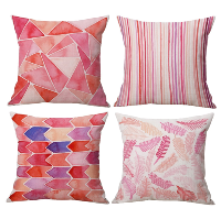 Red/Pink Modern Pillow Set of 4