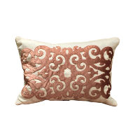 Cream and Swirly Pink Accent Pillow
