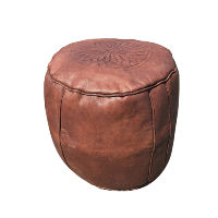Brown Leather Pouff