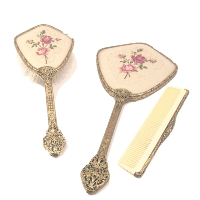 Vintage Vanity Brush, Comb & Mirror Set