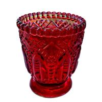 Red Fancy Glass Votive Holders