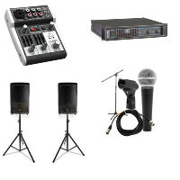 Sound System: 2 Speakers, 2 Stands. Sound Mixer, Amp, Microphone/Stand