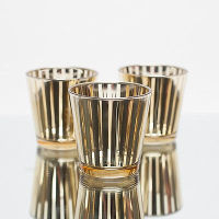 Gold Striped Votive Holders