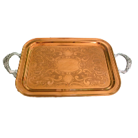 Copper Tray with Silver Handles