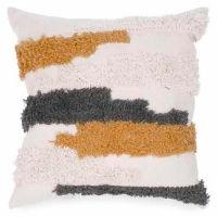 Cream, Grey, Mustard Yellow Bands Pillows