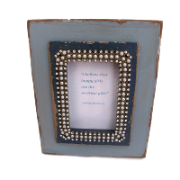 Blue Wood Picture Frame with Audrey Hepburn quote