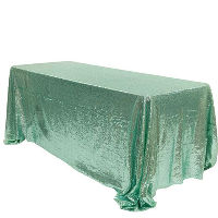 Mint Oblong Sequin Tablecloth