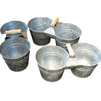 Tin Double Flower Pot Holders
