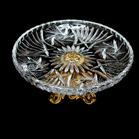 Crystal Footed Cake  Stand with Curved Sides