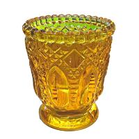 Yellow Fancy Glass Votive Holders