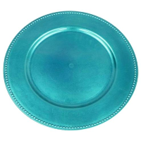 Turquoise Charger Plates with Beaded Rims - Plastic