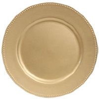 Light Gold Charger Plates with Beaded Rims-Plastic