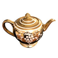 Vintage Gold and White Grapes Teapot