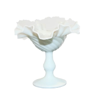 Vintage Milk Glass Compote Vase, Style No. 8