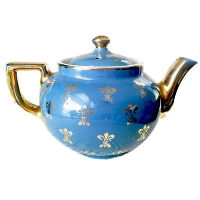 Vintage Cornflower Blue Tea Pot