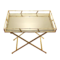 Gold and Mirror Tray Table