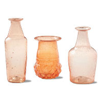 Set of 12 Small Pink/Teracotta Colour Bottles