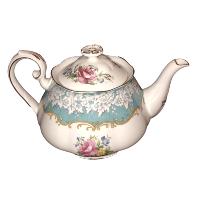 Vintage Blue and Roses Tea Pot