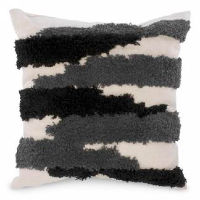 Cream  with Black and Grey Bands Pillows