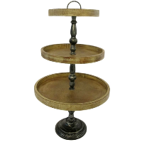 Faux Wood & Faux Metal Lightweight 3 Tier Stand