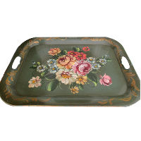 Vintage Green Tin Flower Tray